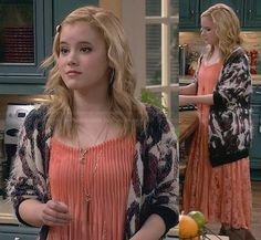 Lennox's coral lace maxi dress and fluffy cardigan on Melissa and Joey.  Outfit Details: http://wornontv.net/30808/ #MelissaandJoey