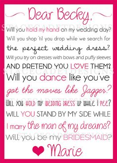 Custom Printable Will You Be My Bridesmaid or Maid of Honor Card Digital File