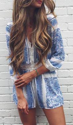Blue & white romper.