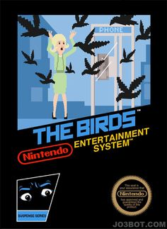 """This is how the 8-bit Nintendo video game cover of Hitchcock's """"The Birds"""" would have looked like...awesome."""