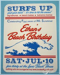 Beach Party Invite...would change a few things around but this is a cute invite for my son's birthday beach party