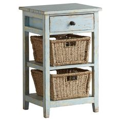 Perfect for stowing hand towels in the powder room or media accessories in the den, this rustic-chic pine wood side table showcases 2 open shelves with woven...