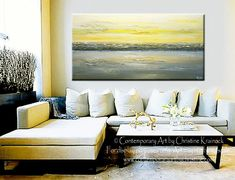 """Yellow and Grey Abstract Coastal Painting, """"Summer Reflections"""" modern, fine art textured artwork landscape gold seascape wall decor home original paintings canvas prints for sale - online art gallery - buy painting abstract prints canvas prints modern contemporary abstract palette knife paintings by International Artist Christine Krainock - Contemporary Art by Christine"""