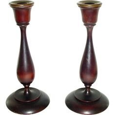 Pair of Elegant Turned Wood Candlesticks Candle Sticks from ...