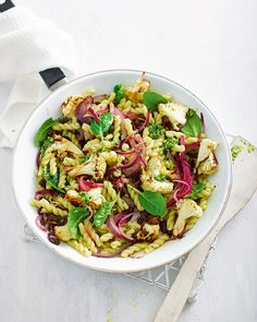 More than a simple bowl of pasta – this recipe is bursting with flavour from the pesto, roasted cauliflower and raisins.