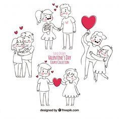 Hand drawn valentine's day couple collection Free Vector