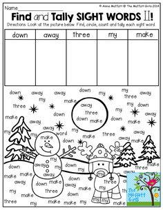 Find and Tally SIGHT WORDS from the picture!  What a FUN and effective way to work on SIGHT WORD recognition!