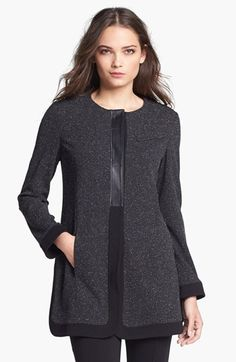 B and K by BUCHANAN & KANG Leather Trim Pleat Back Jacket available at #Nordstrom