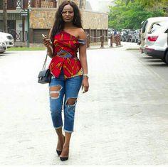 Love It! Haut en tissu africain et jeans destroy..