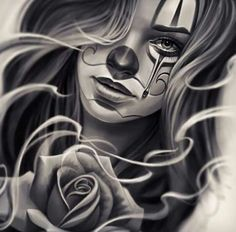 Chicano Drawings Of Roses chicano Gangster Tattoos, Chicano Art Tattoos, Chicano Drawings, Body Art Tattoos, Chicano Tattoos Gangsters, Tattoo Girls, Girl Tattoos, Catrina Tattoo, Clown Tattoo