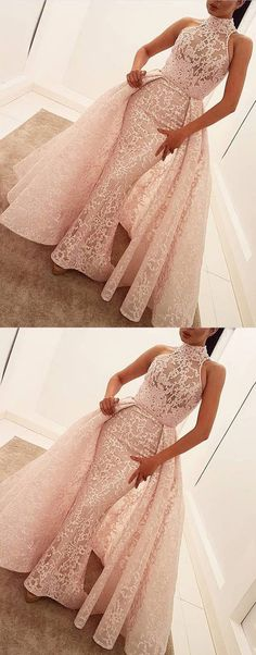 Mermaid Prom Dresses,High Neck Prom Dresses,Sweep Train Prom Dresses,Pearl Pink Prom Dresses,Lace Prom Dresses,Over skirt Prom Dresses