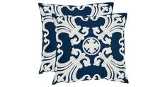 S/2 Collette 18x18 Cotton Pillows, Navy