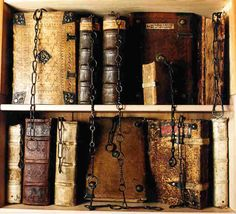 Chained library books at Chetham Library in Manchester, England. The oldest public library in the English-speaking world.