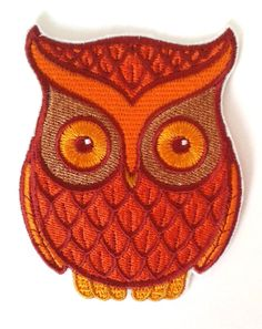 Retro owl patch orange and brown owl iron-on by JaneAtNumber13