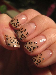 Eye-catching nail designs: animal print french nails