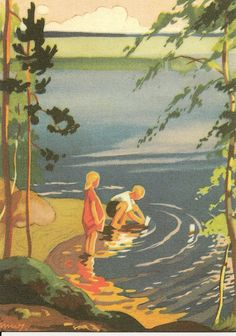 Summer - by Finnish illustrator Martta Wendelin (She especially painted for storybooks, cards and magazine covers. Vintage Greeting Cards, Vintage Postcards, Inspiration Art, Am Meer, Vintage Magazines, Children's Book Illustration, Vintage Children, Art Nouveau, Illustrations Posters