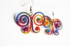 Rainbow Jewelry Rainbow Butterfly Earrings Butterfly by elifus, $9.60