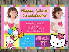 Hello Kitty Birthday Party Photo Invitations thank you by 10x10us, $9.99 Hello Kitty Birthday, Minnie Birthday, Birthday Ideas, Hello Kitty Invitations, Photo Invitations, Party Photos, Party Ideas, Handmade Gifts, Etsy