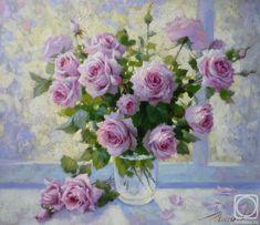Картина маслом на холсте. Николаев Юрий. Розы на окне