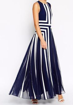 Cheap Dresses, Buy Directly from China Suppliers:New Fashion 2017 Dress Women Summer Elegant Striped Long Dress Women High Waist Patchwork Sleeveless Casual Dress Plus Size Sexy Summer Dresses, Cheap Dresses, Elegant Dresses, Evening Dresses, Dress Summer, Long Dresses, Dresses 2016, Moda Formal, Marine Uniform