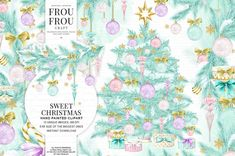 Sweet Christmas - Pastel Xmas Watercolor Clip Art Set  * * * Description: Set of high resolution clip art images. Instant Download.  Youll receive: - 15 high quality RGB PNG files with individual images Approximate size of the biggest images: 3000x3000 pixels, 8x8nches, 300dpi.  Perfect for scrapbook, invitations and cards making, DIY projects.  * * * You may use them: - For personal use - Incorporated in your own artwork (as a smaller aspect to an overall larger design)  You may NOT…