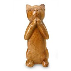 NOVICA Handcrafted Prayer Sculpture ($54) ❤ liked on Polyvore featuring home, home decor, art gallery, brown, dogs & cats, filler, sculpture, wood - animal collection, dog home decor and handcrafted home decor