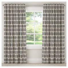"Unlined Dash Curtain Panel Black White (50""x120"")"