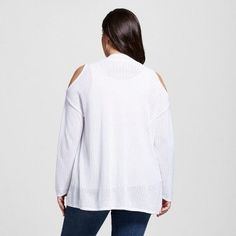 Women's Plus Size Lightweight Cold Shoulder Open Cardigan White 1X - U-Knit
