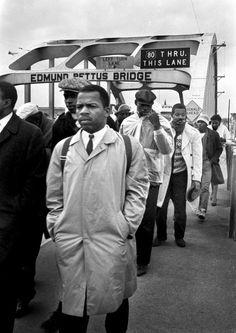 Selma, Alabama - now congressman John Lewis crossing the Edmund Petts Bridge.