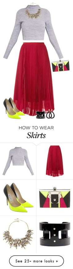"""Seeing Red"" by asigworth on Polyvore featuring Le Ciel Bleu, Jimmy Choo, Paula Cademartori and Amrita Singh"