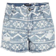 Morgan High waisted denim print shorts found on Polyvore