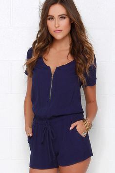 Howz About It Navy Blue Romper at Lulus.com!
