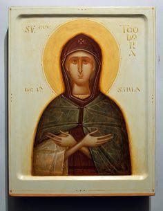 Theodora of Sihla by Gabriel Toma Chituc Russian Orthodox, Orthodox Icons, Sacred Art, Religious Art, Byzantine, Narnia, Church Interior, Gabriel, Christianity