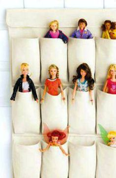 20 Ways to Keep Kid Stuff Organized: Shoe storage turned doll storage