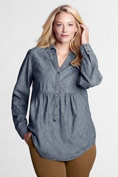 Women's Plus Size Long Sleeve Empire Waist Chambray Tunic from Lands' End