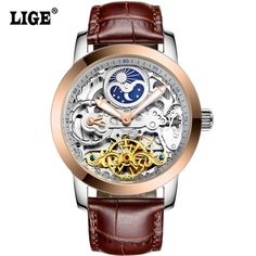 64.99$  Watch here - http://alin85.shopchina.info/1/go.php?t=32797043853 - LIGE Brand Men's watches Moon phase Tourbillon Hollow Automatic Watch Men Waterproof Casual Business Leather Wrist watches 64.99$ #buychinaproducts