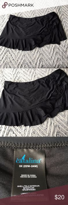 NWT Black Swim Skirt 3x Brand new with tags and hygienic strip.  Cute skirt with full bikini underneath.  Little side ruching and tie.  Flattering and adorable! catalina Swim Bikinis