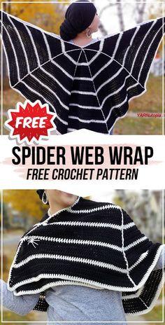 crochet Spider Web Wrap free pattern - easy crochet wrap pattern for beginners Crochet Wrap Pattern, Crochet Cape, Crochet Scarves, Crochet Clothes, Free Crochet, Crochet Shawl, Crochet Stitches, Ravelry, Halloween Crochet Patterns