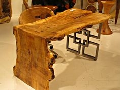 Live Edge Furniture Love the bend-leg but metal legs? Raw Wood Furniture, Live Edge Furniture, Unique Furniture, Industrial Furniture, Furniture Projects, Wood Projects, Furniture Design, Furniture Removal, Furniture Stores