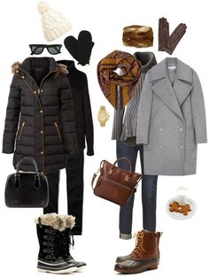 Ensemble: Casual Neutrals with Snow Boots - outfit inspiration: cream cable beanie + black puffer + sorel boots OR neutral Coat + cognac bag + bean boots Winter Mode Outfits, Cold Weather Outfits, Winter Fashion Outfits, Autumn Winter Fashion, Fall Outfits, Cute Outfits, Casual Outfits, Winter Snow Outfits, Fashion Dresses
