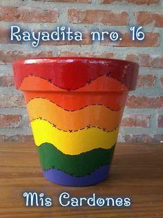 Rainbow painted clay pot~