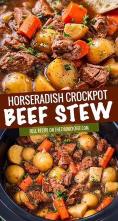 This crockpot beef stew simmers all day to create the most hearty, comforting and flavorful beef stew of all time! The flavors are enhanced by using beer and finishing the dish with a kick of horseradish food crockpot Crockpot Beef Stew Beef Stew Crockpot Easy, Slow Cooker Beef, Slow Cooker Recipes, Soup Recipes, Crockpot Beef Recipes, Stewing Beef Recipes, Crockpot Dishes, Beef Dishes, Recipies
