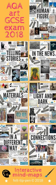 AQA art & design exam 2018 theme mind-maps - all seven: Human Figure, Telling Stories, In the News, Materials, Light and Dark, In a Different Way, Connections. Great for supporting students to start the project with excellent ideas and artists links