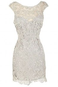 Alythea Silver Metallic Lace Overlay Fitted Dress - brides maids dress in a different colour? Maybe pastel pink?