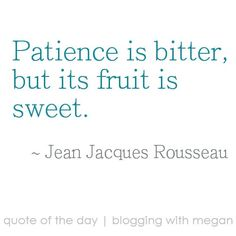 Patience is bitter, but its fruit is sweet. ~ Jean Jacques Rousseau #quote #quoteoftheday