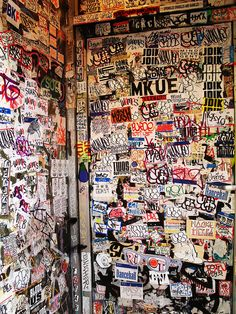 These are the coolest walls Banksy, Graffiti Wallpaper Iphone, Sticker Street Art, Toilet Art, City And Colour, Sticker Bomb, Sticker Shock, Graffiti Tagging, Artsy Photos