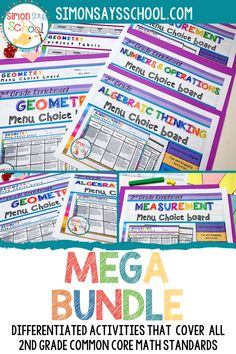 This second grade common core math resource covers all common core math standards in a set of fun math activities. It covers important 2nd grade math skills like measurement, geometry and algebraic thinking. They are a great math resource for addressing common core standards while giving students choice for the math project that they complete. #2ndgrademath #commoncoremath #mathactivities