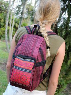 Raspberry Hemp Tribal Backpack Vintage Hmong by Siamese Dream Design,  #backpack #Hemp #Hmong