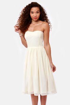 Lovely Strapless Dress - Ivory Dress - Midi Dress - $41.00