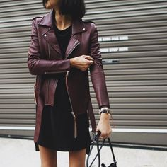 Burgundy Leather jacket on black outfit Burgundy Leather Jacket, Leather Jacket Outfits, Maroon Jacket, Leather Jackets, Mode Outfits, Fall Outfits, Fashion Outfits, Womens Fashion, Summer Outfits